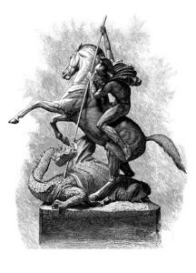 Line Engraving, Magazine of Art 1879, St. George and the Dragon after the Sculpture by J. E. Boehm A.R.A